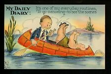 Comic Vintage linen postcard Artist Signed Wellman couple large woman canoe