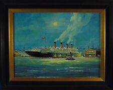 "Klaus Roskamp ""RMS Aquitania"" Seefahrt, Schifffahrt, Ölbild"