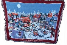 Goodwin Weavers Throw Dickens Village Shops winter snow w/ horse & carriage USA