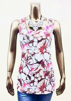 CHICO'S $49 NWT BROWN-PINK FLORAL SLEEVELESS CAIRO LEAN TANK TOP SIZE 3 ( XL )