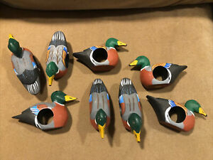 Mallard Duck Wood Napkin Rings ~ Lot of 8 ~ Vintage In Excellent Condition