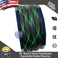 "100 FT 3/8"" Black Green Expandable Wire Sleeving Sheathing Braided Loom Tubing"