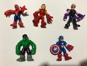 "Lot of 5 Marvel Playskool Heroes 3"" Figures Iron Man Hulk Hawkeye Captain Spider"