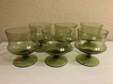 Vintage Mid Century Modern Swedish Sherbet Champagne Green Glass Set Of 6