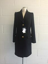 BNWT LOVE MOSCHINO Donna Lana Nero Cappotto Stile Militare Taglia UK 12, 42 IT