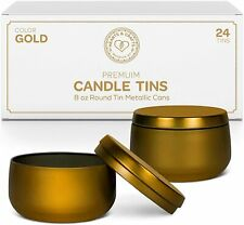 Gold Tin Cans With Lids | 8oz, 24Pack for Candles, Arts & Crafts, Jewelry & more