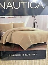 NEW! Nautica King Size Reversible Quilt 3 Pc Bedding Set  2 Shams Tan Mustard