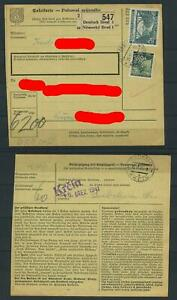 Böhmen und Mähren 55, 57 auf Paketkarte 1941  Deutsch Brod - Krcin #m491