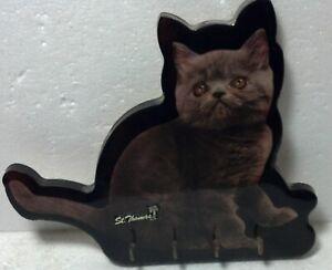 "Wood Cat shaped/photo Key rack St.Thomas souvenir 8"" high x 9"" wide x 1/2"" thick"