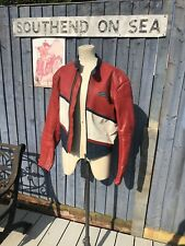 "SIZE 40"" VINTAGE BIKERS JACKET RED WHITE BLUE LEATHER GMAC DIAGONAL SRIPES SCOTS"