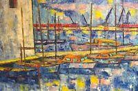 Expressionist  Boote im Hafen um 1960  -B7