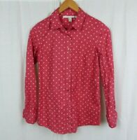 LC Lauren Conrad Polka Dot Long Sleeve Button Down Shirt 100% Cotton Women's XS
