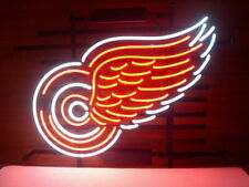 "Detroit Red Wings Logo Neon Lamp Sign 20""x16"" Bar Light Beer Glass Display"