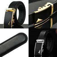 Fashion Men's Genuine Leather Automatic Buckle Black Classic Waistband Belts