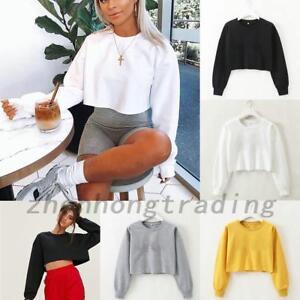 Women Crop Tops Long Sleeve Sweatshirt Jumper Casual Pullover Coat 3 sizes