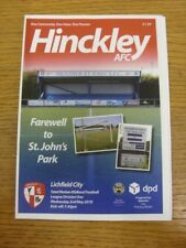 02/05/2018 Hinckley AFC v Lichfield City [Programme Dated: 02/04/2018, With 4 Pa