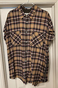 Fear Of God Fourth Collection Khaki Plaid Flannel Size XL 4th Sleeveless Rare