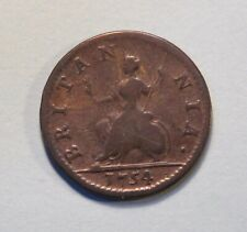 1754 Great Britain Farthing Coin England UK British 1/4 Penny King George II