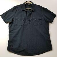 INC Men's Short Sleeve Collar Shirt XXL 2XL Dark Blue Pockets Popover Casual
