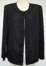 Womens Laurence Kazar Hand Made Black Beaded Silk Evening Jacket Size PL New WT