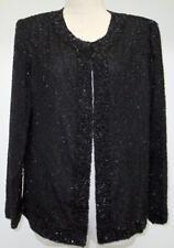 Womens Laurence Kazar Hand Made Black Beaded Silk Evening Jacket Size PL New WT