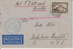 1929-GERMANY-GRAF ZEPPELIN AIR MAIL COVER  WITH STAMPS MI.424-SEND TO USA