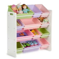 Kids Toy Organizer Shelf Storage Bins Bright Colorful Sorter Racks Cubbies White
