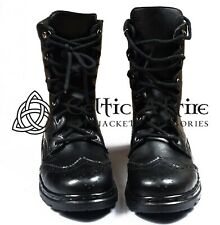 Scottish Kilt Ghillie Brogue Black Boots Shoes100%Genuine Leather Shoes Size8-13