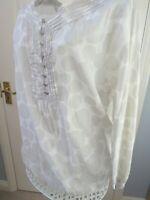BNWT MINT VELVET Carly Bubble TUNIC TOP Size 14 White Grey Spot Boho Artisan