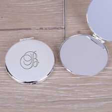 Silverplated Round Compact Mirror With Initial - Personalised Engraved Make Up
