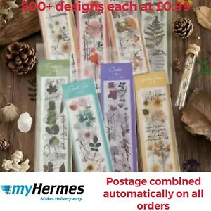 10Pages Set PET Floral and Plants Stickers - Washi Tape- Scrapbooking Decorating