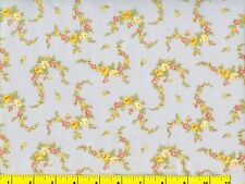 Red White Yellow Flower Garlands on Blue Quilting & Sewing Fabric 1/2 Yard  #487