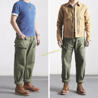 P44 American WWII Military Pants Men's Vintage Overalls Slacks Loose Trousers