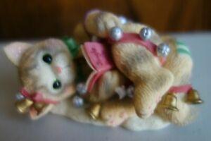 Calico Kittens Jingle Bells 542539 Kitten Wrapped in Christmas Bells Figurine