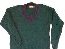 Ralph Lauren Chaps Large Knit Sweater Green Purple Retro 80s Funky V Neck Vtg