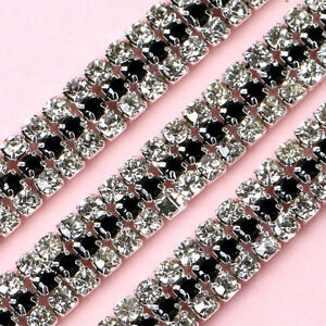 1 Yard 3 Rows Clear and Black Crystal Rhinestone Trim Chain Sewing Craft Chains