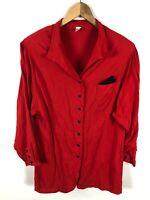 VINTAGE Damen Bluse, Größe 42, rot mit schwarz, schlicht, elegant, fein, schick