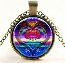 """Ocean/ Heart Cabochon Pendant on 20"""" Bronze plated Necklace. Beach and Nautical"""