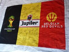 Drapeau BELGIQUE signé EQUIPE foot World Cup 2014 ultras foot signed flag
