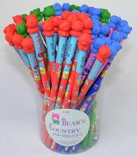 Made in Japan Bear Country HB Pencil w Bear Eraser Topper Iwako Blue