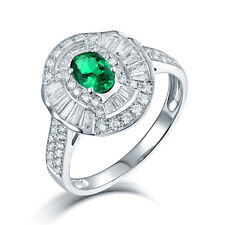 Real 14K White Gold Natural Emerald & Baguette Diamond Wedding Engagement Ring