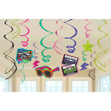 "Totally 80s Foil Swirl Decorations ""I LOVE THE 80s"" Birthday Party Supplies 12pc"