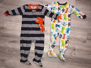 Lot Baby Boy Footie Pajamas Carter's Size 18m Toddler Long Sleeve Zip Dinosaur