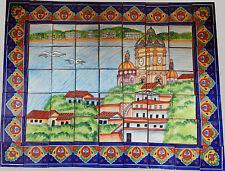 # 45 Mexican Talavera Mosaic Mural Tile Handmade Folk Art Seagulls & Ocean View