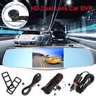 5'' HD 1080P Car DVR Rearview Mirror Dual Lens Dash Cam Camera Recorder