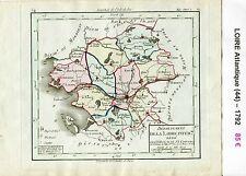 Dépt 44 - Carte de la Loire Atlantique Superbe Gravure Cuivre Aquarellée 1792