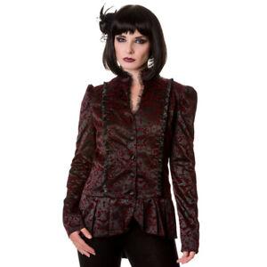 Banned Gothic Victorian Steampunk Jacke Mantel - Ivy Pattern Blazer Samt