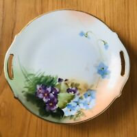 "NIPPON Hand Painted Ceramic Plate Floral Green Purple Gold Trim Antique 7"" Japan"