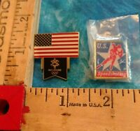 Lot Salt Lake City 2002 Olympics Speed Skating & Flag Pins Gold Tone & Enamel