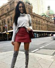 Kookai Light Grey New Jersey 100% Leather Mini Dress Skirt Size 34 BNWT